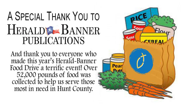 Herald Banner Food Drive Thank You